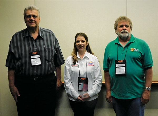 Newly elected Trails Committee leaders are (L-R) Mark Hazzard (IL), Secretary; Karyn Hautamaki (MI), Chair; and Dave Newman (WI) Vice-Chair.