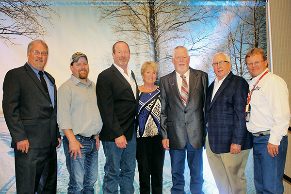 The newly elected Executive Board for ACSA. They are (L-R) Dan Long (IL), President; Chris Willey (IA), Delegate-at-Large; Brian Erickson (SD), Delegate-at-Large; Christine Jourdain (MI), Executive Director; Scott Herzog (MT) Past President; Len Neisler (IN), Secretary/Treasurer; and Bert Miller (WY), Vice President