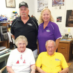 Nancy and Lyle Shipe and Patti and Bill Tisron at the office.
